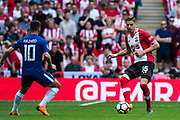 Chelsea (10) Eden Hazard, Southampton (35) Jan Bednarek during the The FA Cup match between Chelsea and Southampton at Wembley Stadium, London, England on 22 April 2018. Picture by Sebastian Frej.