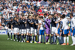 Falkirk fans at the start of the game. Kilmarnock 4 v 0 Falkirk, second leg of the Scottish Premiership play-off final.