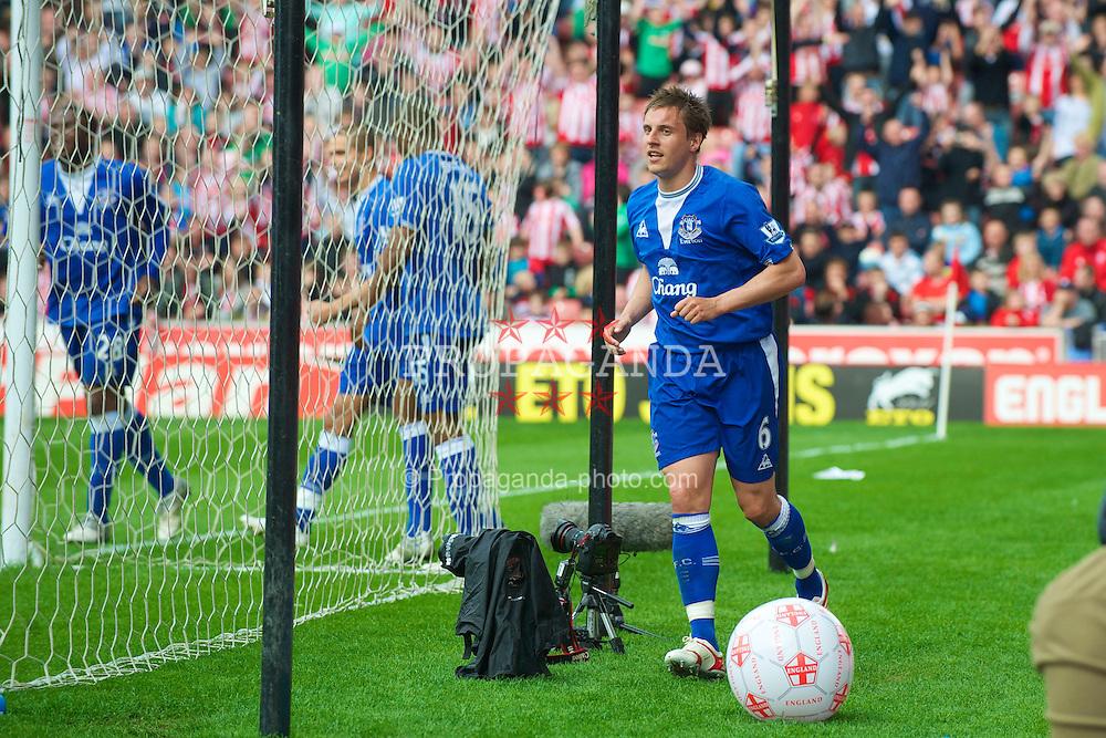 STOKE, ENGLAND - Saturday, May 1, 2010: Everton's Phil Jagielka celebrates his disallowed goal against Stoke City during the Premiership match at Britannia Stadium. (Photo by David Rawcliffe/Propaganda)
