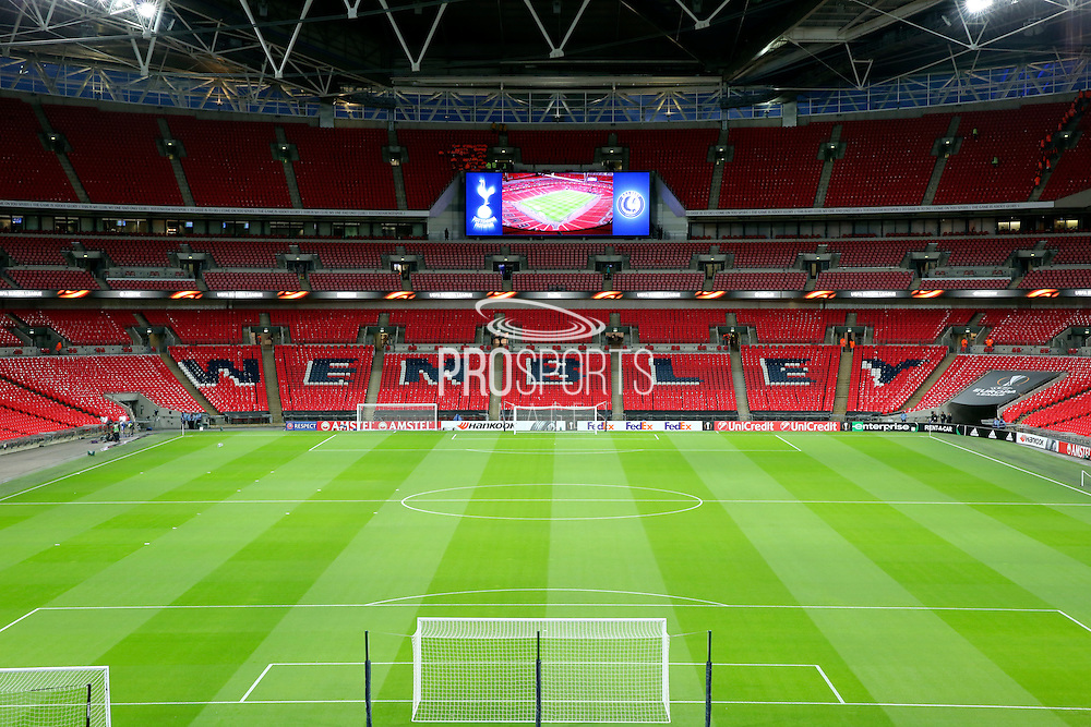 Wembley stand showing pitch and scoreboard during the Europa League match between Tottenham Hotspur and KAA Gent at Wembley Stadium, London, England on 23 February 2017. Photo by Matthew Redman.