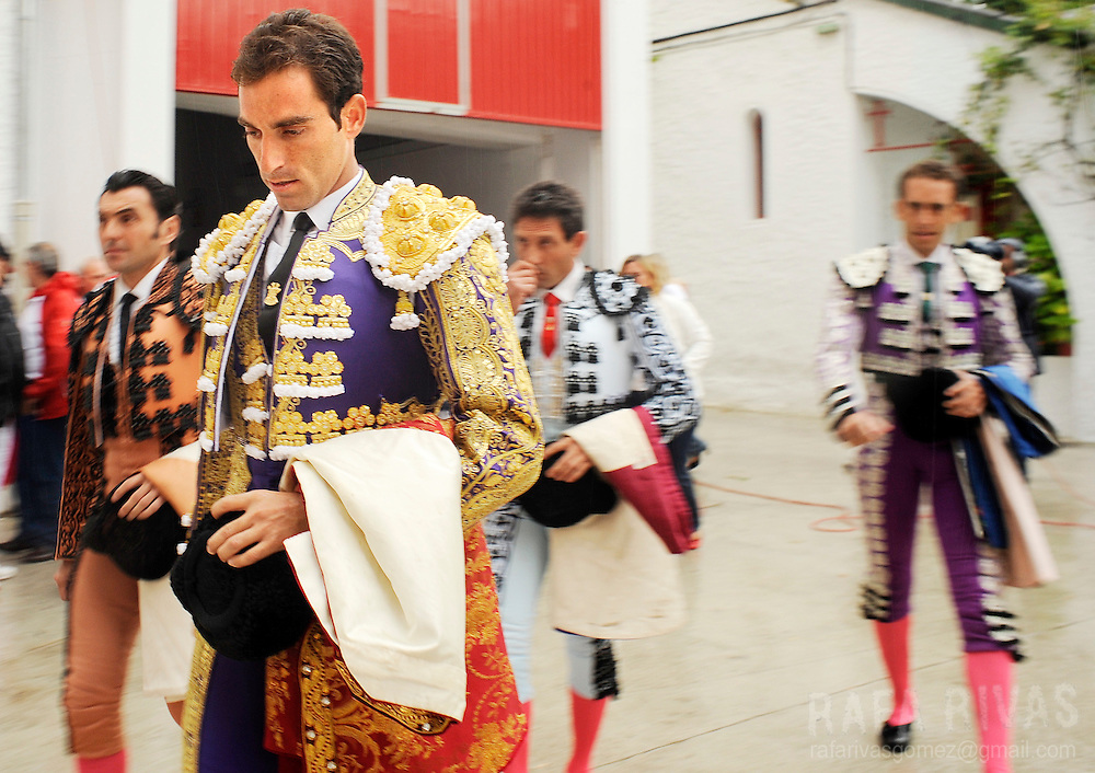 Spanish Matador Salvador Cortes arrives with his assistants at the bull-ring, on July 12, 2008, to take part in the sixth corrida of the San Fermin festivities, in Pamplona, north of Spain.