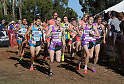 Dec 8, 2018; Balboa Park, CA, USA; Jonathan Velasco, Cole Hocker, Jake Renfree, Joshua Methner and Aries Reading lead the boys raced uring the 40th Foot Locker cross country championships at Morley Field. Hocker won in 15:13.7.