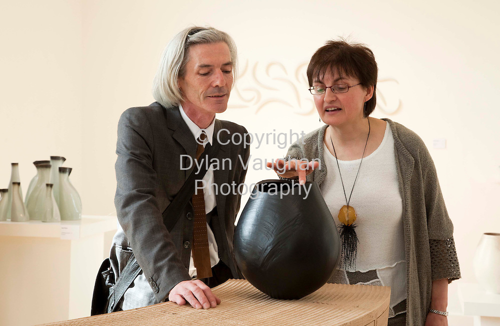 "2/5/2009.free picture no charge for use.Raymond Keane artistic  director of Barabbas Theatre Company (opened the exhibition) and Una Parsons chief executive officer of the Crafts Council of Ireland pictured at the opening of ""Organic Geometry"" at the Craft Council of Irelands National Craft Gallery in Kilkenny..The exhibition is an exploration of form in contemporary Irish craft. Makers draw inspiration from the natural world and use it as a stepping-stone to creating pure and beautiful forms and runs until the 3rd of August..Picture Dylan Vaughan"