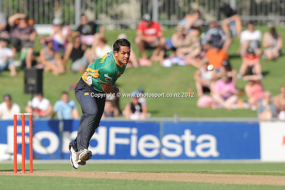 Central Stag's Kieran Noema-Barnett bowls in the HRV Twenty20 Cricket match between the Central Stags and Northern Knights at McLean Park, Napier, New Zealand. Saturday 14 January 2012. Photo: Kerry Marshall / photosport.co.nz