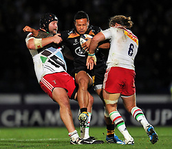 Alapati Leiua of Wasps takes on the Harlequins defence. - Photo mandatory by-line: Patrick Khachfe/JMP - Mobile: 07966 386802 26/10/2014 - SPORT - RUGBY UNION - High Wycombe - Adams Park - Wasps v Harlequins - European Rugby Champions Cup