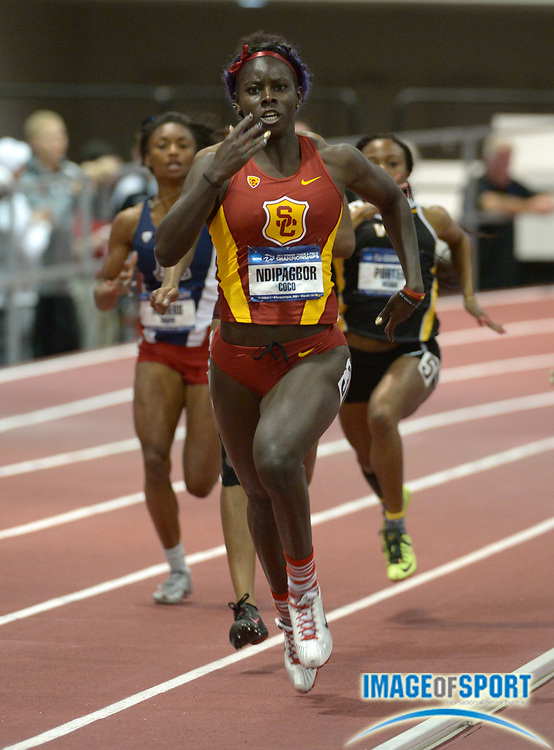 Mar 14, 2014; Albuquerque, NM, USA; Akawkaw Ndipagbor of Southern California wins womens 400m heat in 52.47 in the 2014 NCAA Indoor Championships at Albuquerque Convention Center.