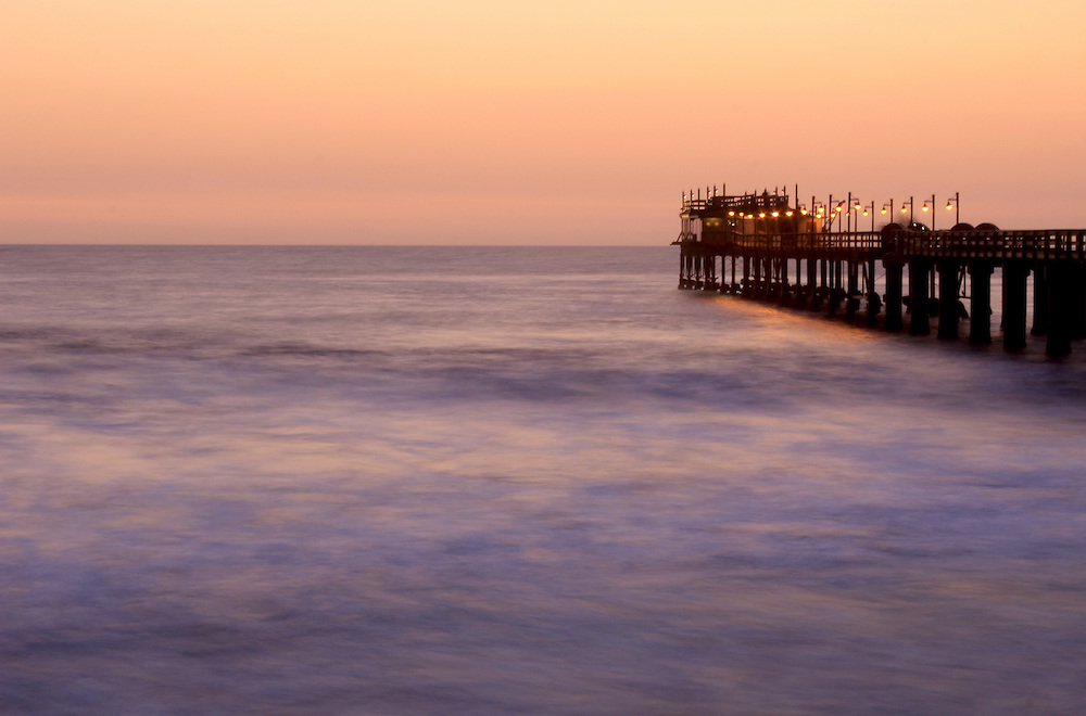 Famous jetty in Swakopmund, a germam style colonial city on the Atlantic coast of northwestern Namibia