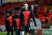 Liam Lindsay of Barnsley F.C. warms up for the EFL Sky Bet League 1 match between Doncaster Rovers and Barnsley at the Keepmoat Stadium, Doncaster, England on 15 March 2019.