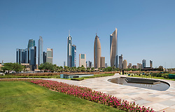 Skyline of CBD Central Business District from  Al Shaheed Park in Kuwait City, Kuwait
