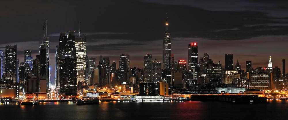 Manhattan skyline. Panorama at the morning.