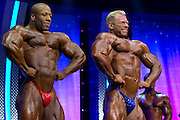 March 1, 2014 - Columbus, Ohio, U.S - <br /> <br /> Bodybuilding 2014 - Arnold Classic<br /> <br /> SHAWN RHODEN and DENNIS WOLF pose for the judges at the 2014 Arnold Classic at the Arnold Sports Festival in Columbus, Ohio.  Rhoden finished second and Wolf won the competition. <br /> ©Exclusivepix