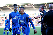 Peterborough Utd defender Tyler Denton (23) is sent off by Referee Carl Boyeson during the EFL Sky Bet League 1 match between Doncaster Rovers and Peterborough United at the Keepmoat Stadium, Doncaster, England on 9 February 2019.
