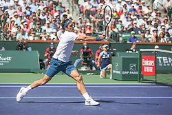 March 15, 2019 - Indian Wells, CA, U.S. - INDIAN WELLS, CA - MARCH 15: Roger Federer (SUI) hits a forehand volley during the BNP Paribas Open on March 15, 2019 at Indian Wells Tennis Garden in Indian Wells, CA. (Photo by George Walker/Icon Sportswire) (Credit Image: © George Walker/Icon SMI via ZUMA Press)