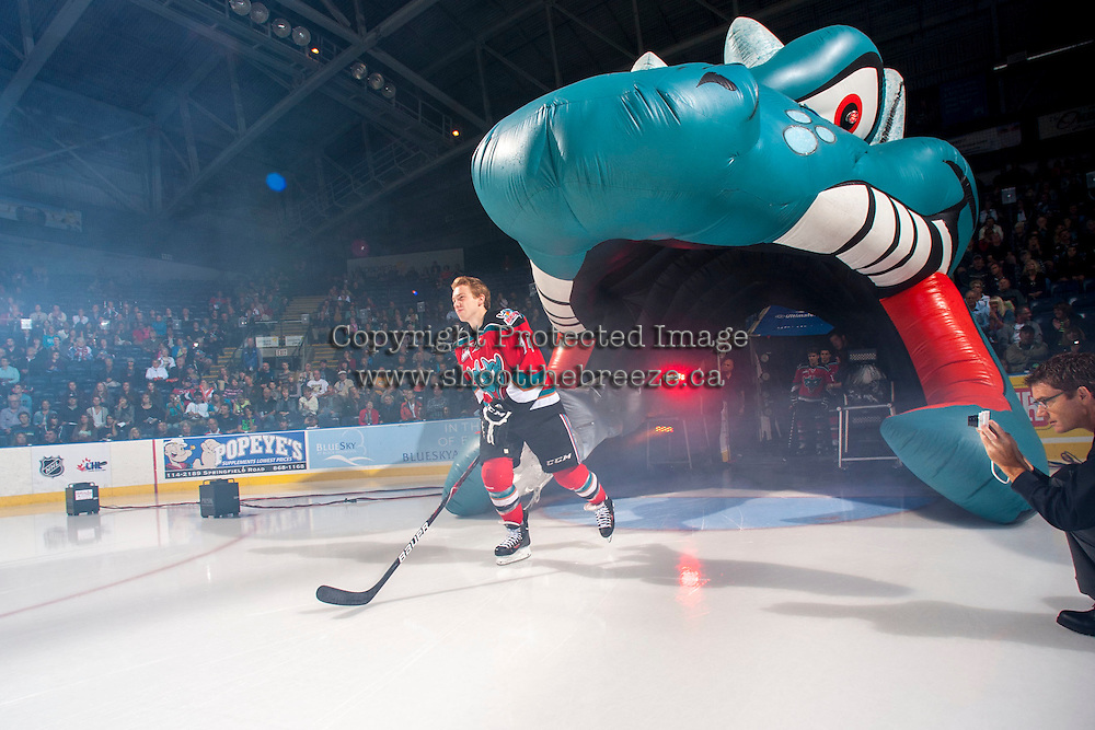 KELOWNA, CANADA - SEPTEMBER 21:  Rourke Chartier #14 of the Kelowna Rockets enters the ice during the regular season home opener against the Kamloops Blazers at the Kelowna Rockets on September 21, 2013 at Prospera Place in Kelowna, British Columbia, Canada (Photo by Marissa Baecker/Shoot the Breeze) *** Local Caption ***