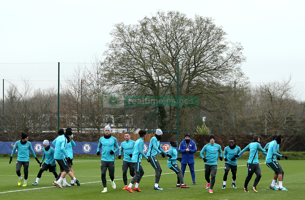 Chelsea during the training session at Cobham Training Centre, Stoke d'Abernon.