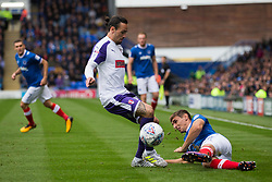 Ryan Williams of Rotherham United tackles Brandon Haunstrup of Portsmouth - Mandatory by-line: Jason Brown/JMP - 03/09/2017 - FOOTBALL - Fratton Park - Portsmouth, England - Portsmouth v Rotherham United - Sky Bet League Two