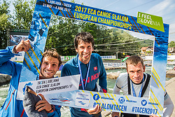 Second placed Thomas Koechlin fo Switzerland, winner Alexander Slafkovsky of Slovakia and third placed Michal Martikan of Slovakia celebrate after competing in Final of Canoe C1 Men Single during Day 4 of 2017 ECA Canoe Slalom European Championships, on June 4, 2017 in Tacen, Ljubljana, Slovenia. Photo by Vid Ponikvar / Sportida