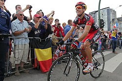 01.07.2012, Luettich, BEL, Tour de France, 1. Etappe Luettich-Seraing, im Bild GILBERT Philippe (BMC Racing Team) auf dem Weg zum Start // during the Tour de France, Stage 1, Liege-Seraing, Belgium on 2012/07/01. EXPA Pictures © 2012, PhotoCredit: EXPA/ Eibner/ Ben Majerus..***** ATTENTION - OUT OF GER *****