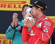 Sebastian Vettel of Scuderia Ferrari takes second place in the Spanish Formula One Grand Prix at Circuit de Catalunya, Barcelona<br /> Picture by EXPA Pictures/Focus Images Ltd 07814482222<br /> 14/05/2017<br /> *** UK &amp; IRELAND ONLY ***<br /> <br /> EXPA-EIB-170514-0119.jpg