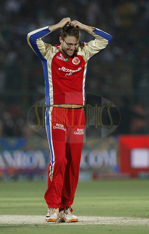 Royal Challengers Bangalore captain Daniel Vettori reacts during match 30 of the the Indian Premier League ( IPL) 2012  between The Rajasthan Royals and the Royal Challengers Bangalore held at the Sawai Mansingh Stadium in Jaipur on the 23rd April 2012..Photo by Pankaj Nangia/IPL/SPORTZPICS