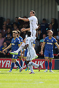 Haydn Hollis scores and celebrates scoring during the Sky Bet League 2 match between AFC Wimbledon and Notts County at the Cherry Red Records Stadium, Kingston, England on 19 September 2015. Photo by Stuart Butcher.