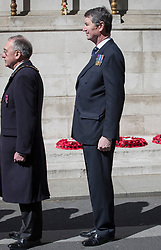 © Licensed to London News Pictures. 25/04/2017. London, UK. Commander Sir Tim Laurence (R) attends the ANZAC ceremony at the Cenotaph in Whitehall. A dawn ceremony and service was held at The Australian War Memorial and The New Zealand War Memorial at Hyde Park Corner.  April 25th is the day that Australia and New Zealand remember the dead of all wars. Photo credit: Peter Macdiarmid/LNP