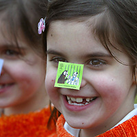 FREE TO USE PIX.<br />Royal Mail launch new stamps celebrating the discovery of DNA...Pictured from left, eight year old twins Terri and Claire Marsh who attend Caledonian Road Primary school in Perth..<br />See press release from Gordon Walker tel: 01786 842688<br />Picture by Graeme Hart.<br />Copyright Perthshire Picture Agency<br />Tel: 01738 623350  Mobile: 07990 594431