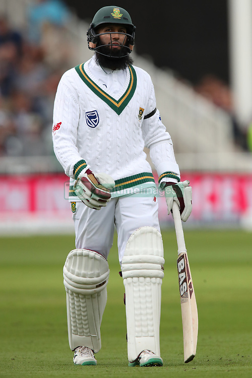 South Africa's Hashim Amla walks off dejected during day one of the Second Investec Test match at Trent Bridge, Nottingham.