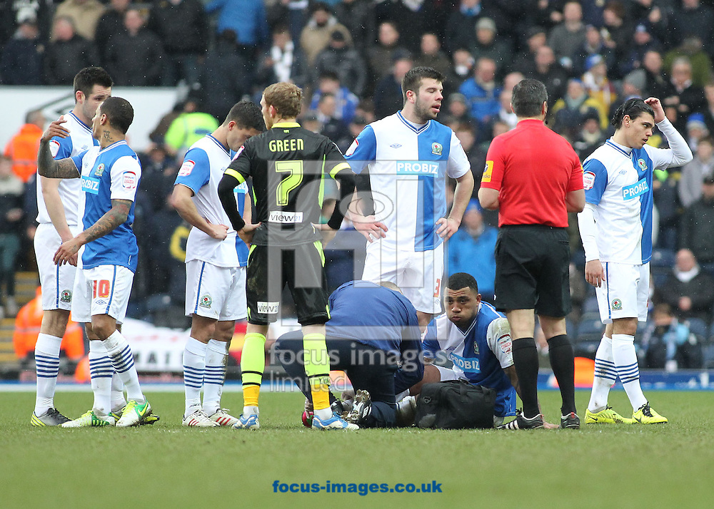 Picture by Michael Sedgwick/Focus Images Ltd +44 7900 363072.23/02/2013.Colin Kazim-Richards of Blackburn Rovers is tended by the the physic after injuring himself during the npower Championship match against Leeds United at Ewood Park, Blackburn.