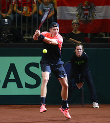 03.02.2018, VAZ, St. Pölten, AUT, Davis Cup, Österreich vs Weissrussland, Europa-Afrika-Zone, 1. Runde, im Bild Ilya Ivashka (BLR) am Samstag, 03. Februar 2018, waehrend seines Spiels gegen Dominic Thiem (AUT) // Ilya Ivashka of Belarus during the Davis Cup - Europe - African zone - 1st Round between Austria and Belarus at the VAZ in St. Pölten, Austria on 2018/02/03. EXPA Pictures © 2018, PhotoCredit: EXPA/ Thomas Haumer