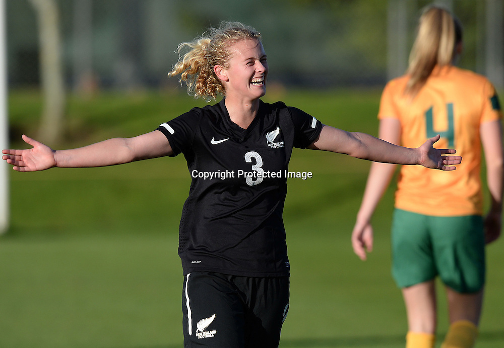 Catherine Bott celebrates her second goal.  Junior Football Ferns v Young Matildas. Kristin School, Albany. Thursday 25 July 2013. Photo: Andrew Cornaga/Photosport.co.nz