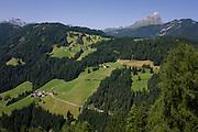 Dolomites hillside landscape near La Val in Alta Badia, south Tyrol, Italy.