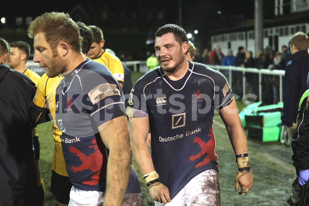 Mark Phillips and James Phillips in action during the Green King IPA Championship match between London Scottish &amp; Cornish Pirates at Richmond, Greater London on 16th January 2015<br /> <br /> Photo: Ken Sparks | UK Sports Pics Ltd<br /> London Scottish v Cornish Pirates, Green King IPA Championship, 16h January 2015<br /> <br /> &copy; UK Sports Pics Ltd. FA Accredited. Football League Licence No:  FL14/15/P5700.Football Conference Licence No: PCONF 051/14 Tel +44(0)7968 045353. email ken@uksportspics.co.uk, 7 Leslie Park Road, East Croydon, Surrey CR0 6TN. Credit UK Sports Pics Ltd
