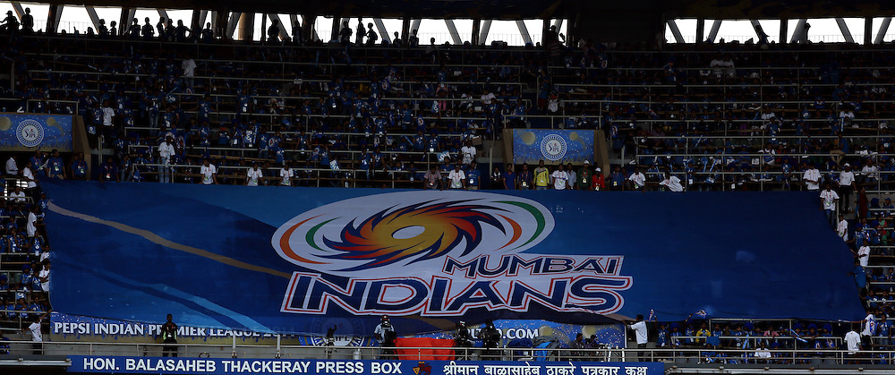 Kids Displays Mumbai Indians Flag during match 22 of the Pepsi Indian Premier League Season 2014 between the Mumbai Indians and the Kings XI Punjab held at the Wankhede Cricket Stadium, Mumbai, India on the 3rd May  2014<br /> <br /> Photo by Sandeep Shetty / IPL / SPORTZPICS<br /> <br /> <br /> <br /> Image use subject to terms and conditions which can be found here:  http://sportzpics.photoshelter.com/gallery/Pepsi-IPL-Image-terms-and-conditions/G00004VW1IVJ.gB0/C0000TScjhBM6ikg