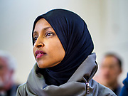 16 MARCH 2019 - BLOOMINGTON, MINNESOTA, USA: Congresswoman ILHAM OMAR (D-MN) at Dar al Farooq Center in Bloomington. She is the first Somali-American elected to congress. An interdenominational crowd of about 1,000 people came to the center to protest white supremacy and religious intolerance and to support Muslims in New Zealand who were massacred by a white supremacist Friday. The Twin Cities has a large Muslim community following decades of Somali immigration to Minnesota. There are about 45,000 people of Somali descent in the Twin Cities.   PHOTO BY JACK KURTZ