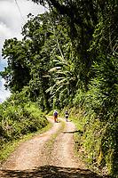 Pessoas caminhando em estrada de terra no distrito de Rio Natal. São Bento do Sul, Santa Catarina, Brasil. / <br /> People walking on a dirt road at Rio Natal district. Sao Bento do Sul, Santa Catarina, Brazil.