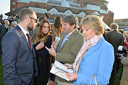Left to right, JOE MARSHALL, MEL C, CHARLIE BROOKS and LADY LLOYD-WEBBER  at the 2014 Hennessy Gold Cup at Newbury Racecourse, Newbury, Berkshire on 29th November 2014.  The Gold Cup was won by Many Clouds ridden by Leighton Aspell.