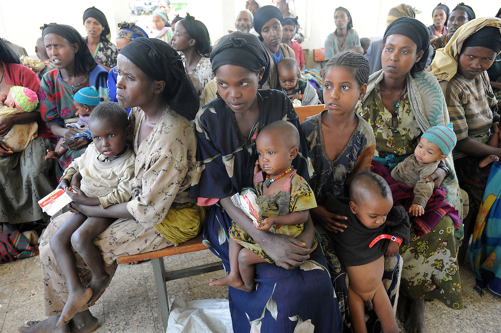 Mothers and babies at the Dosha clinic which run by Concern,  Shashego Woreda , Southern Ethiopia