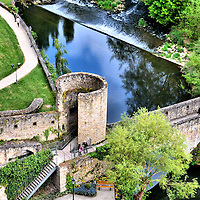 Bock Ruins and Alzette River Falls in Luxembourg City, Luxembourg <br />