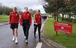 CARDIFF, WALES - Thursday, April 4, 2019: Wales' Gemma Evans (L), goalkeeper Laura O'Sullivan (C) and Cori Williams (R) during a pre-match team walk at the Vale Resort ahead of an International Friendly match between Wales and Czech Republic at Rodney Parade. (Pic by David Rawcliffe/Propaganda)