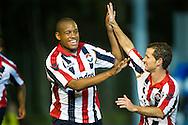AGOVV - Willem II Jupiler League seizoen 2011-2012<br /> Rangelo Janga viert het doelpunt met Robbie Haemhouts<br /> Foto: Geert van Erven