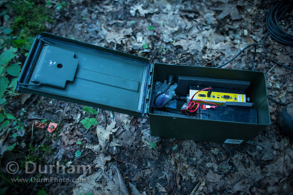 An anabat recorder deployed near a road in the Cherokee National Forest. The sensor will record the ultrasonic calls of bats in the area for several nights, and can determine species based upon call acoustics.