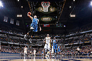INDIANAPOLIS, IN - NOVEMBER 13: Zach LaVine #8 of the Minnesota Timberwolves goes up for a dunk ahead of Paul George #13 of the Indiana Pacers during a game at Bankers Life Fieldhouse on November 13, 2015 in Indianapolis, Indiana. The Pacers defeated the Timberwolves 107-103. NOTE TO USER: User expressly acknowledges and agrees that, by downloading and or using the photograph, User is consenting to the terms and conditions of the Getty Images License Agreement. (Photo by Joe Robbins/Getty Images) *** Local Caption *** Zach LaVine;Paul George