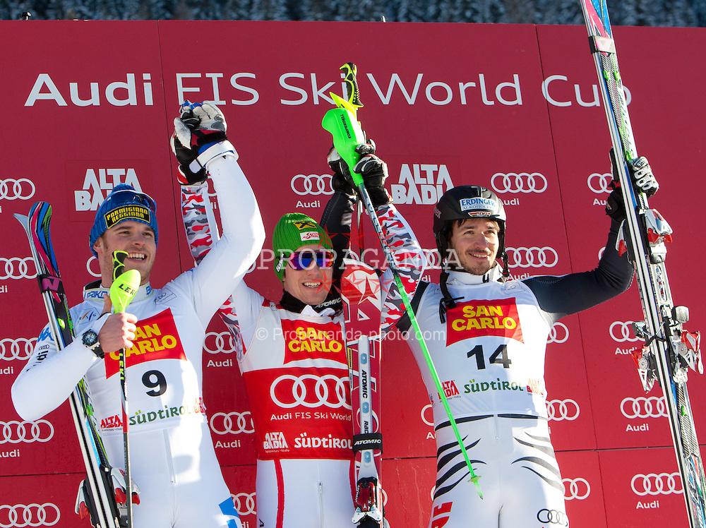 19.12.2011, Gran Risa, Alta Badia, ITA, FIS Weltcup Ski Alpin, Herren, Slalom Podium, im Bild v.l.n.r Giuliano Razzoli (ITA, Rang 2), Marcel Hirscher (AUT, Rang 1) und Felix Neureuther (GER, Rang 3) // f.l.t.r. second place Giuliano Razzoli of Italy, first place Marcel Hirscher of Austria and dirt place Felix Neureuther of Germany on Podium during men's Slalom 2nd run at FIS Ski Alpine Worldcup at Gran Risa in Alta Badia, Italy on 2011/12/19. EXPA Pictures © 2011, PhotoCredit: EXPA/ Johann Groder