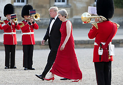 © Licensed to London News Pictures . 12/07/2018. Blenheim, UK. US President Donald Trump meets British Prime Minister Theresa May at Blenheim Palace , ahead of a black tie dinner , on the first day of a visit by the American President to the UK . Photo credit: Joel Goodman/LNP