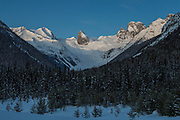 Sunrise view from Bugaboos Lodge of Bugaboos Spires, Canadian Mountain Holidays heli-skiing & heli-snowboading, British Columbia, Canada
