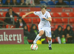 CARDIFF, WALES - Tuesday, August 21, 2014: England's Fran Kirby in action against Wales during the FIFA Women's World Cup Canada 2015 Qualifying Group 6 match at the Cardiff City Stadium. (Pic by Ian Cook/Propaganda)