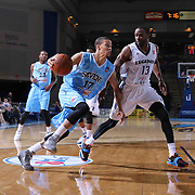 Delaware 87ers Guard Jared Cunningham (17) drives past Texas Legends Guard Mike James (13) in the second half of a NBA D-league regular season basketball game between the Delaware 87ers and the Texas Legends (Dallas Mavericks) Sunday, Jan. 25, 2015 at The Bob Carpenter Sports Convocation Center in Newark, DEL