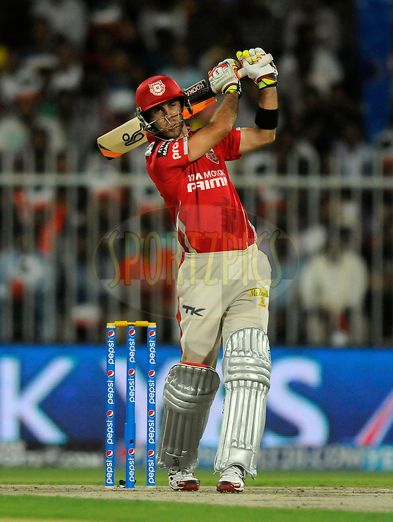 Glenn Maxwell of the Kings X1 Punjab bats during match 7 of the Pepsi Indian Premier League 2014 between the Rajasthan Royals and The Kings XI Punjab held at the Sharjah Cricket Stadium, Sharjah, United Arab Emirates on the 20th April 2014<br /> <br /> Photo by Pal Pillai / IPL / SPORTZPICS