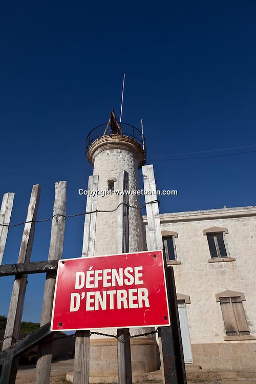 the old lighthouse of senetoza , on the Wild coast near Tizzano Corsica south  France    /  le phare de senetoza sur la cote sauvage pres de Tizzano  Corse du sud  France